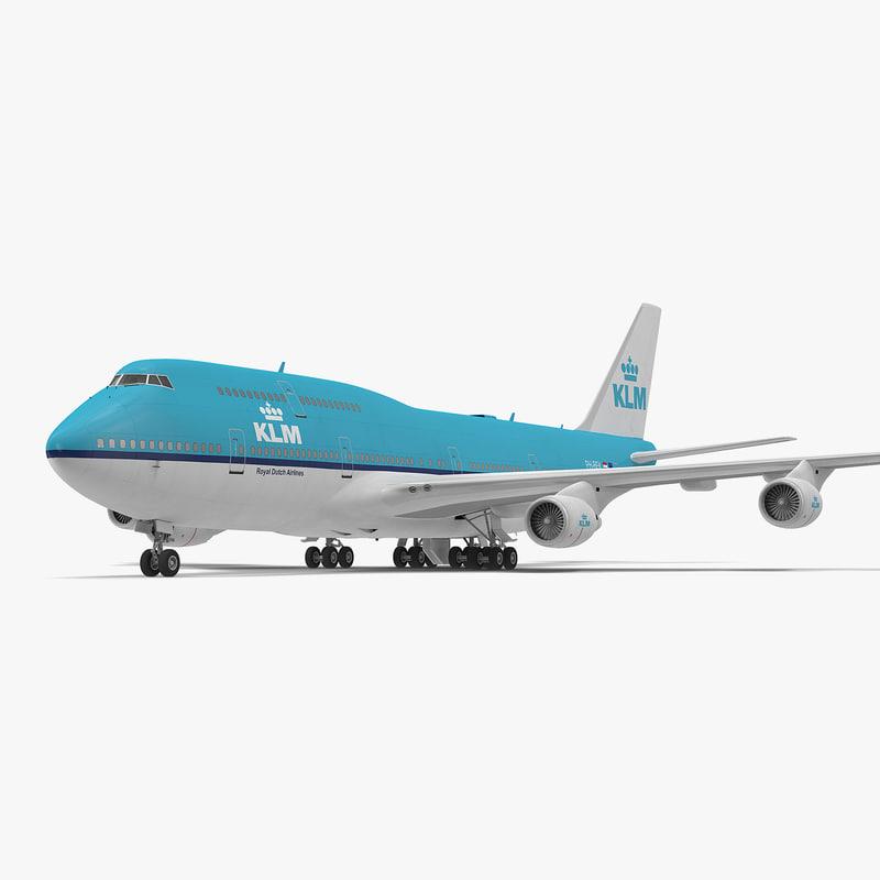 boeing 747-400er klm modeled 3d model