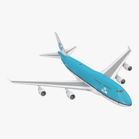 3d boeing 747 klm rigged model