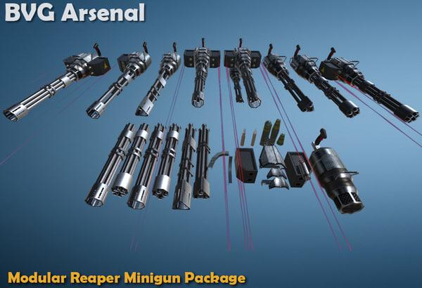 modular reaper minigun package 3d model