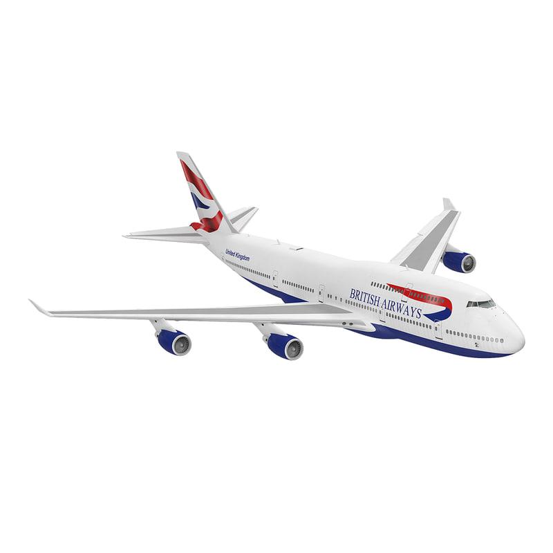 boeing 747-400er british airways 3d model