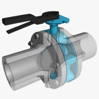 butterfly valve 3d max