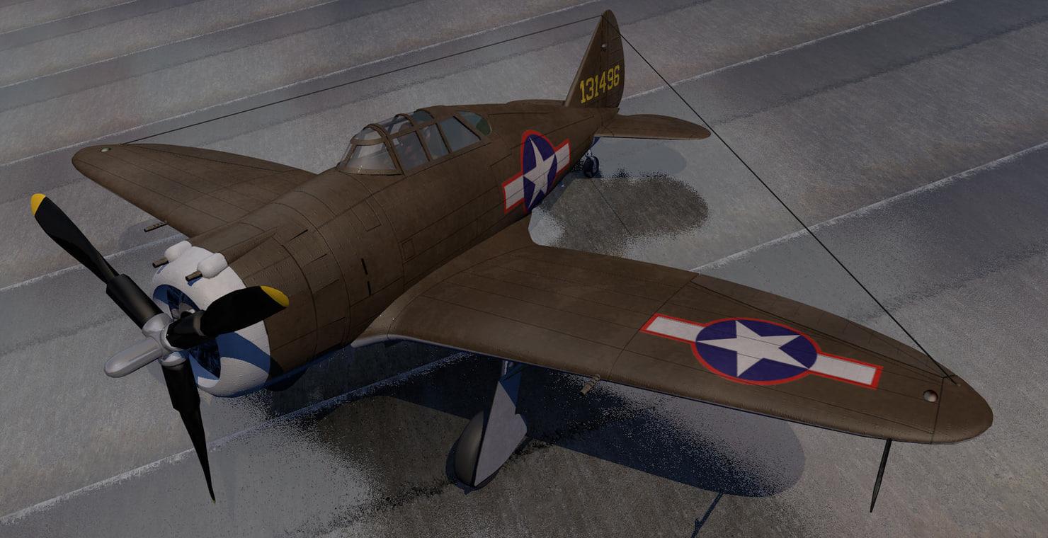 republic p-43 lancer fighter aircraft 3ds