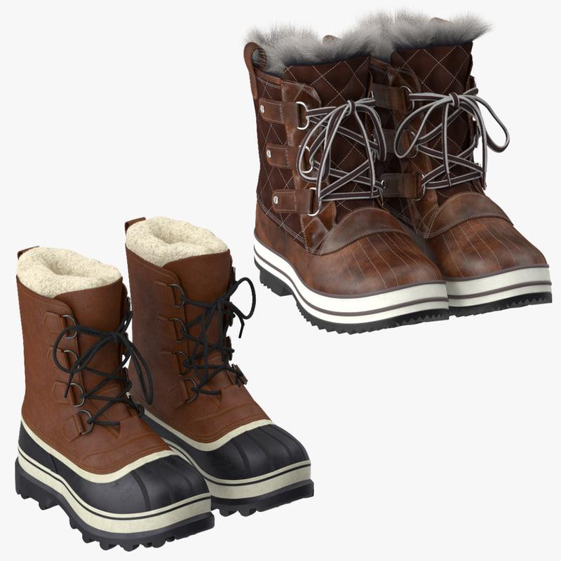 snow boots obj