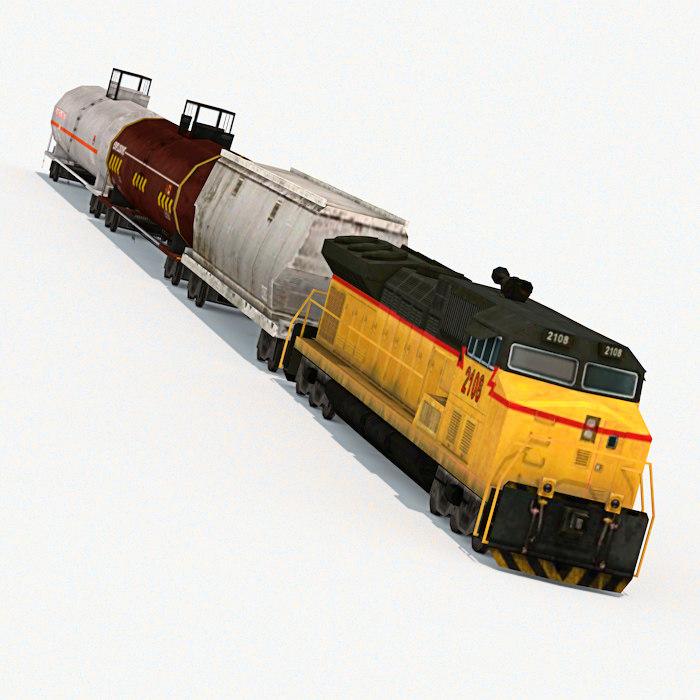 locomotive cars hopper 3d max