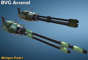 miniguns pack 3d model