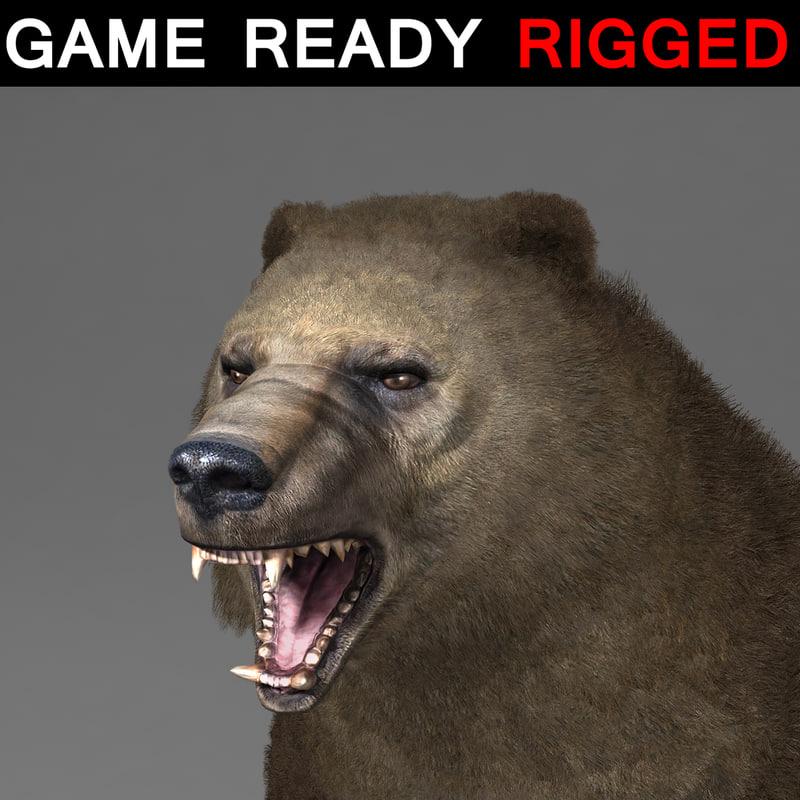 rigged bear fur 01 max