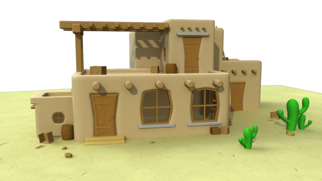 3d mexican house cartoon model