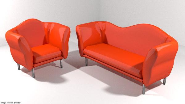 sofa set 3d 3ds