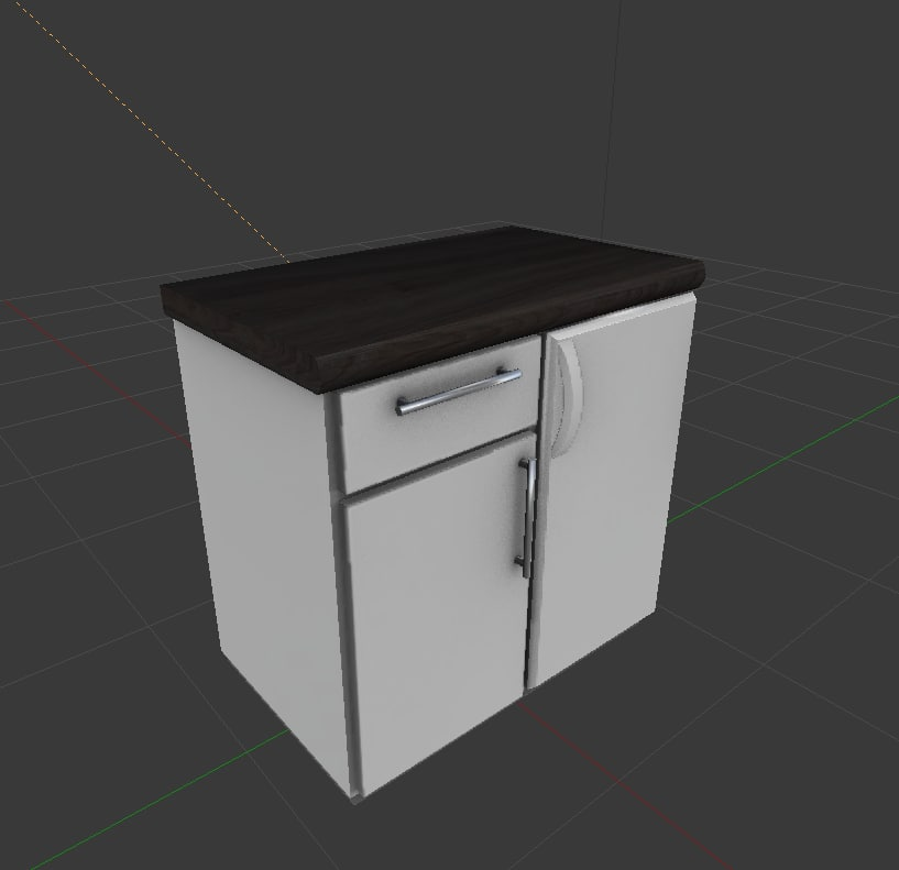 3d obj cabinet integrated freezer
