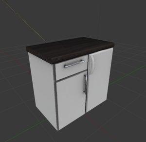 3d obj cabinet integrated freezer