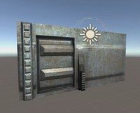 free sci-fi door animation 3d model