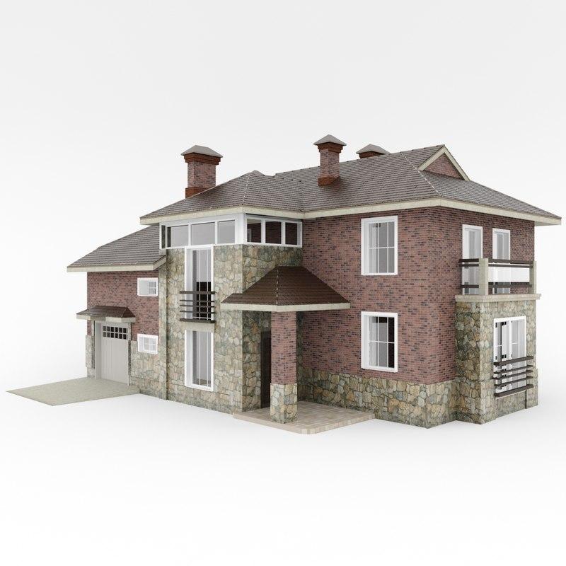 3d cottage exterior building