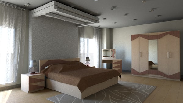 3d bedroom modern furniture model