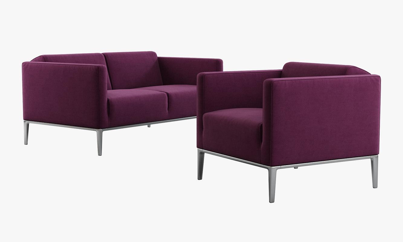 b italia jean armchair sofa 3d model