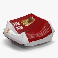 3d crumpled burger box big model