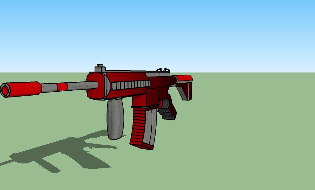 black m27 assault rifle 3d 3ds