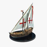caravel realistic prop 3d model