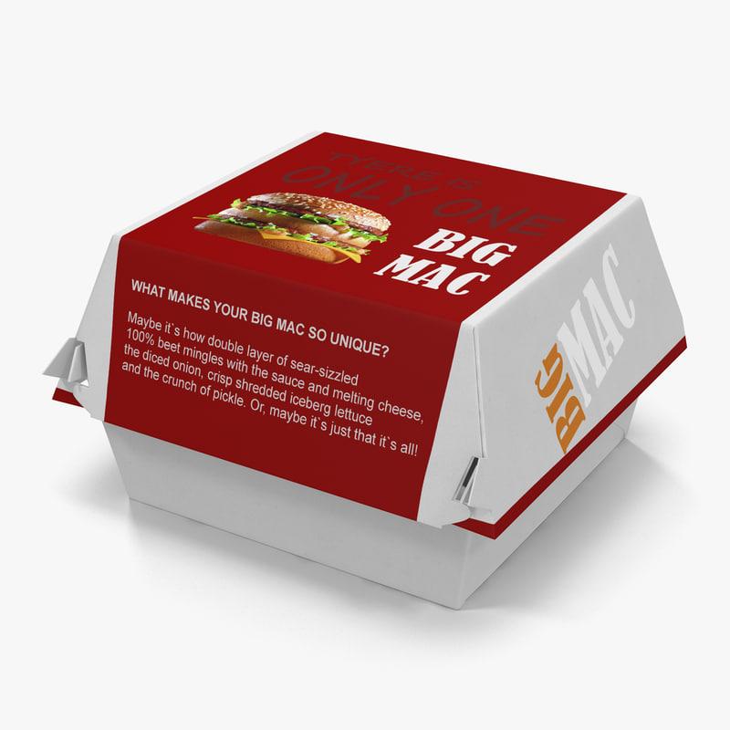 3d burger box big mac