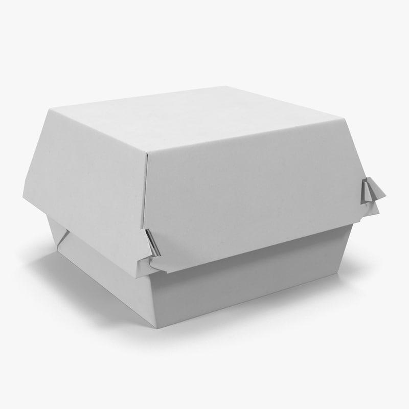 3d burger box generic modeled model
