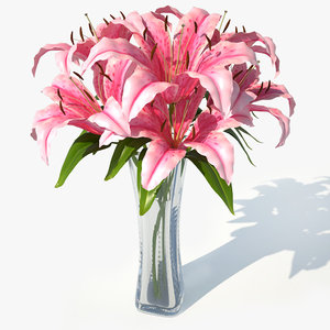 3d lily pink bouquet v model