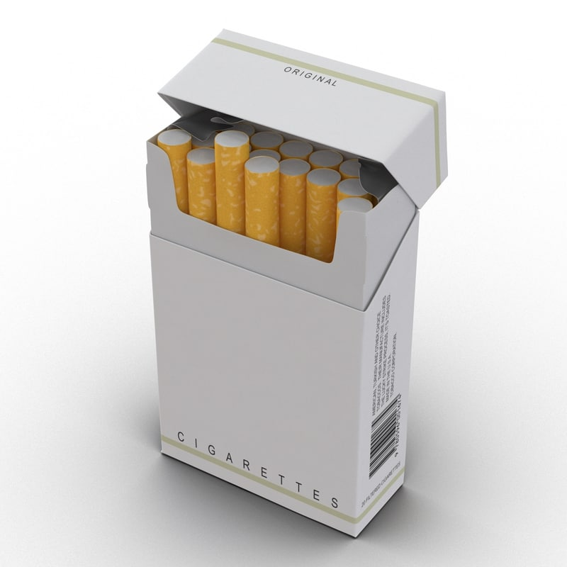 3d model opened cigarettes pack modeled