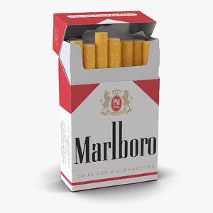 3d opened cigarettes pack marlboro model