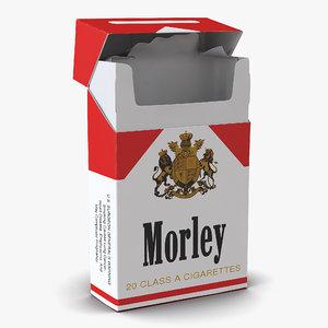 opened cigarettes pack morley 3d obj