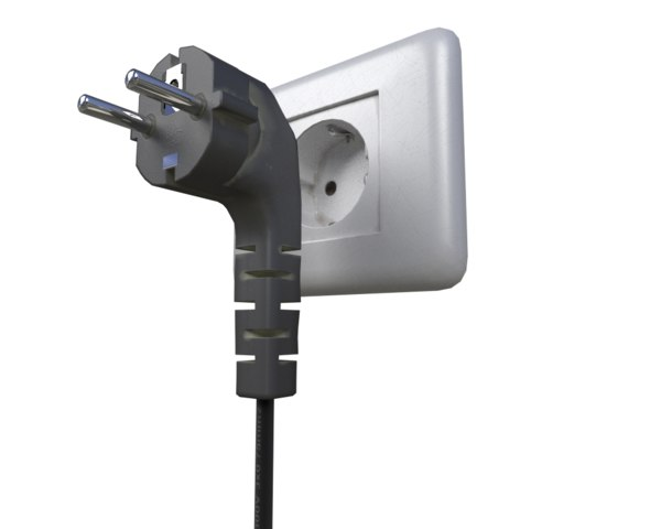 3d model plugged cord socket