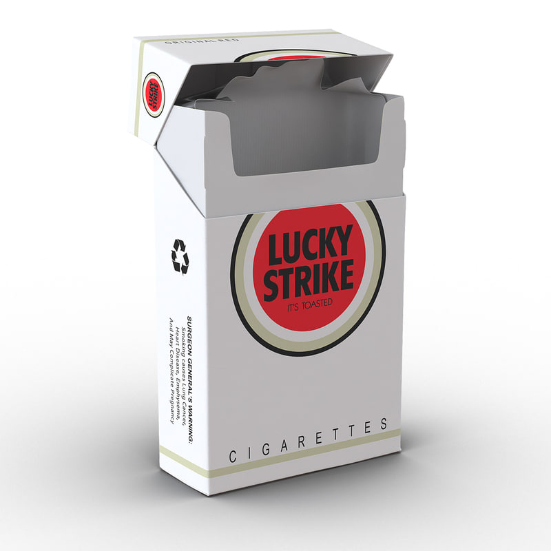 3d model of opened cigarettes pack lucky