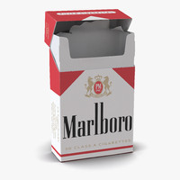 opened cigarettes pack marlboro 3d model