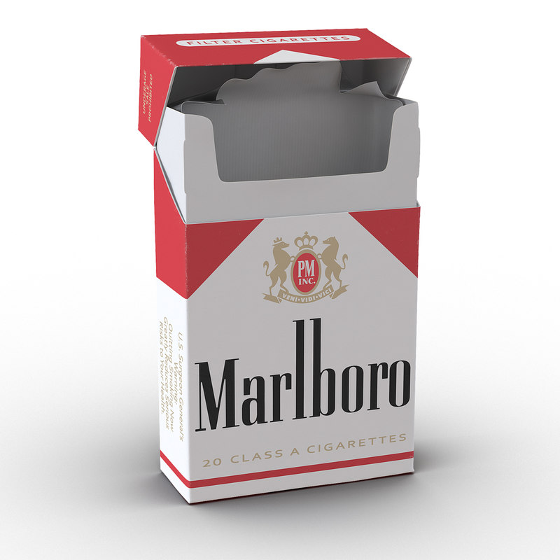 opened cigarettes pack marlboro 3d model