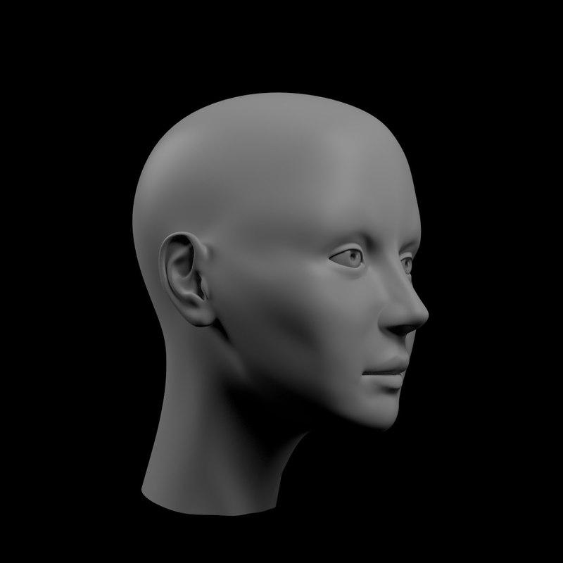 3d basemesh female head mesh character