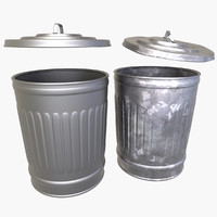 2 trash cans 3d model