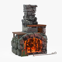 3d fireplace cartoon