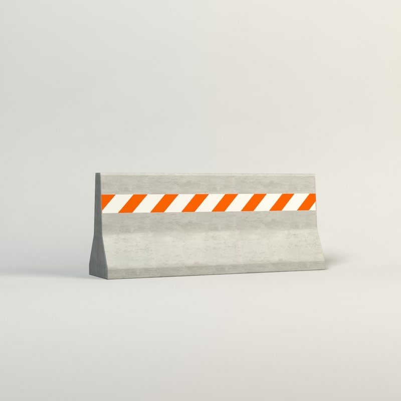 3d model of realistic concrete barrier