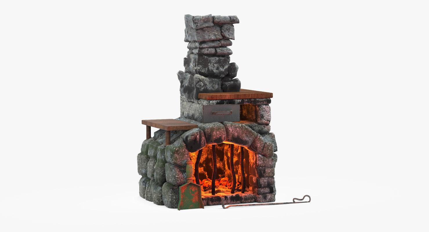 3d fireplace cartoon
