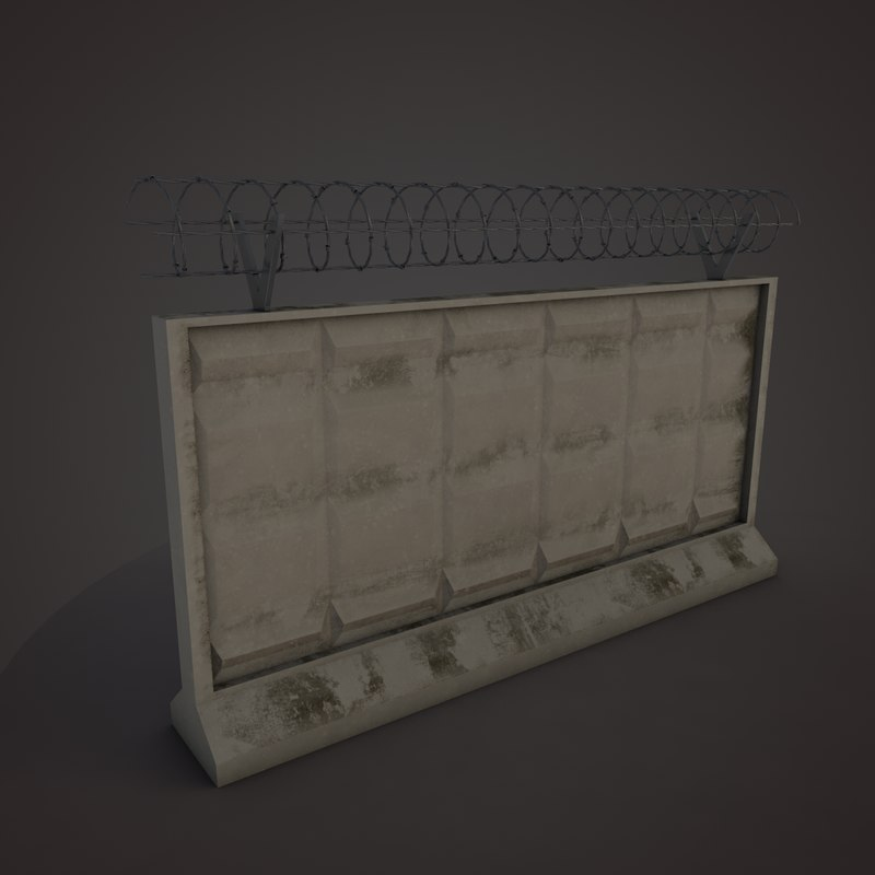 concrete fence 3d 3ds
