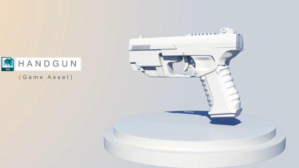 futuristic handgun obj