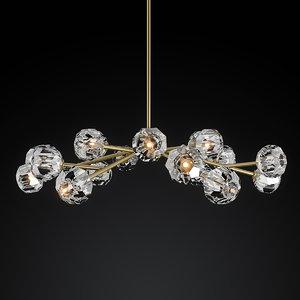 chandelier boule cristal 3d obj