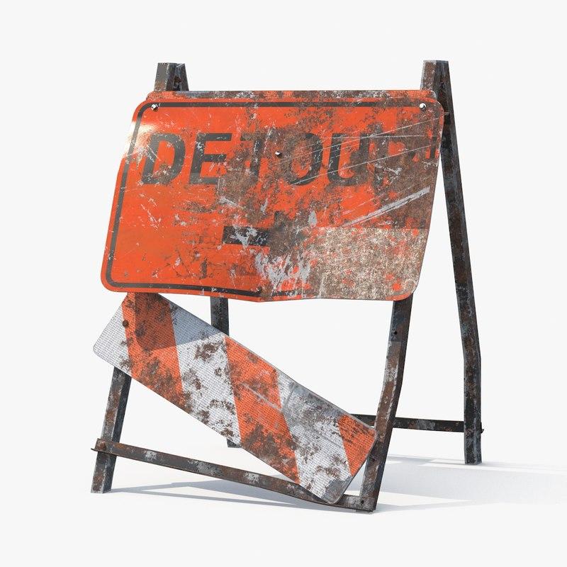 3d destroyed detour sign model