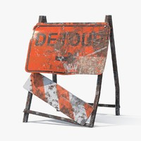 3d destroyed detour sign model
