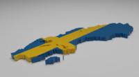 3d model sweden flag