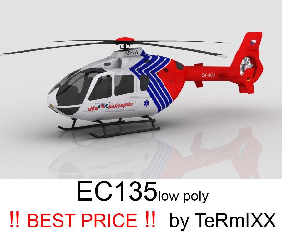 3d model heli ec-135 alfa helicopter