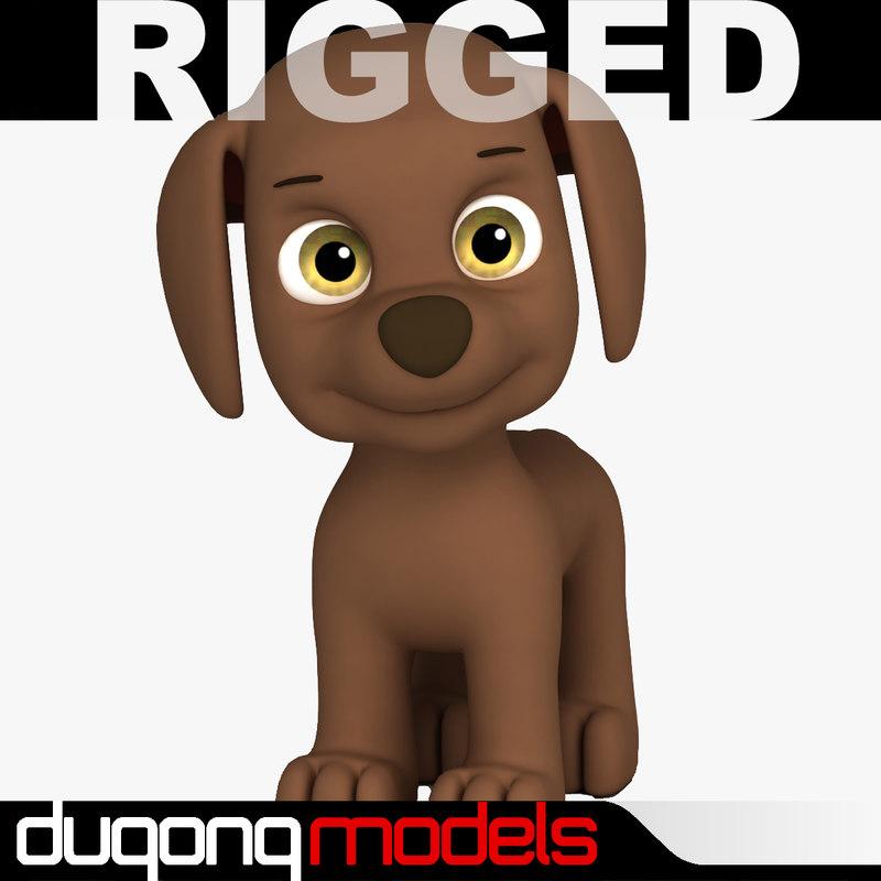 dugm08 rigged cartoon dog max