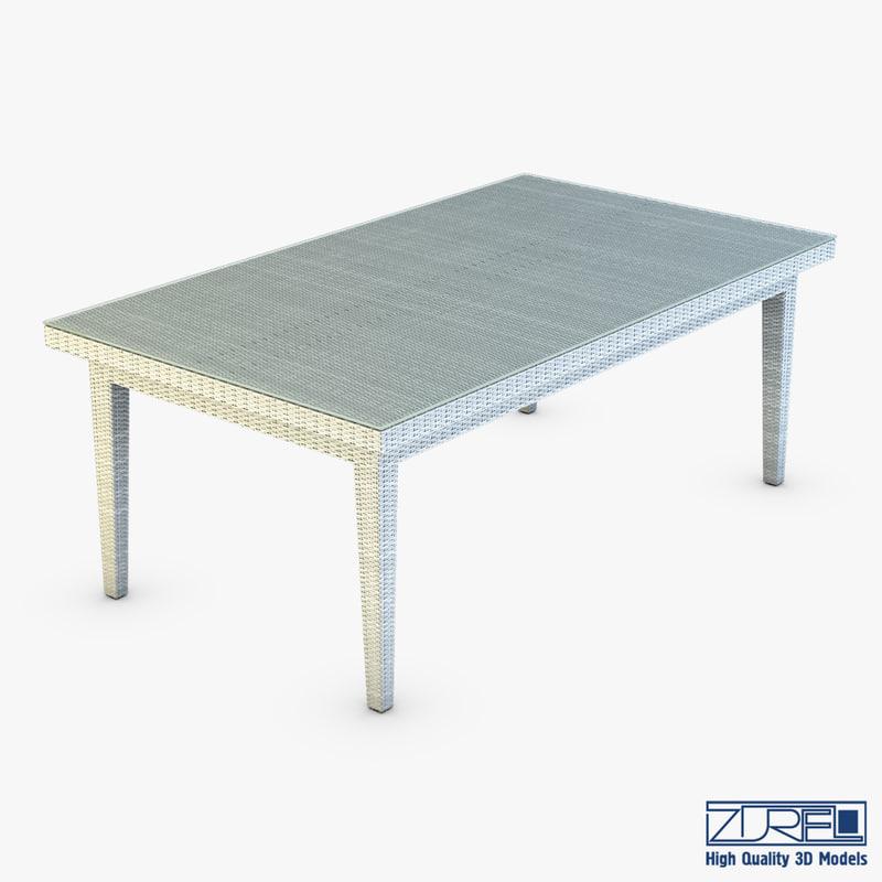 3d rexus dining table white model