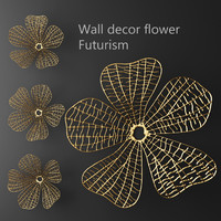 wall decor flower futurism 3d model