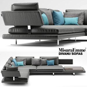 3d model sofa misuraemme borderline