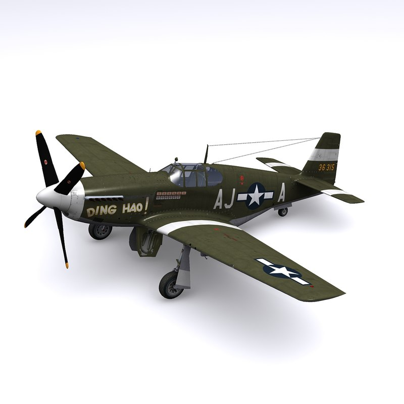 3d model of p-51 fighter p-51b lt