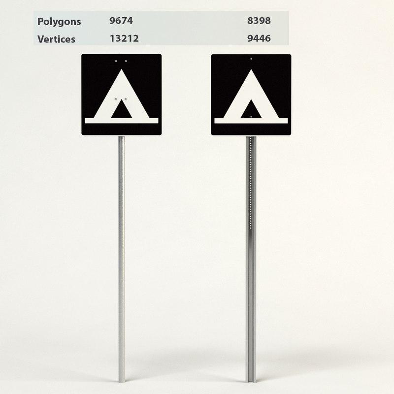 3d model camping sign