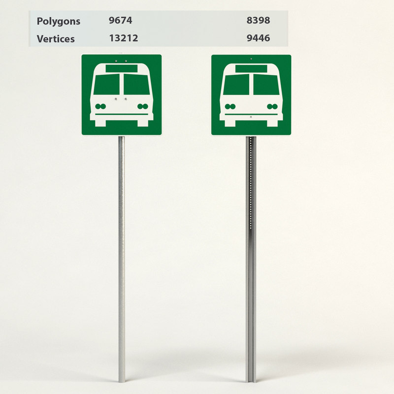 3d bus stop signs model